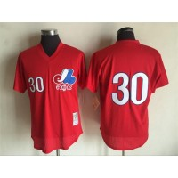 MLB Expos 30 Tim Raines RedThrowback Mitchell And Ness Men Jersey