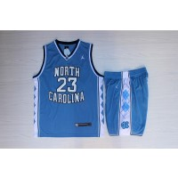 NCAA North Carolina 23 Michael Jordan Blue College Mesh Men Jersey(With Shorts)