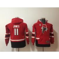 Nike Atlanta Falcons 11 Julio Jones Red All Stitched Hooded Youth Sweatshirt