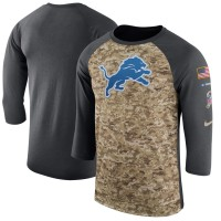 Nike Detroit Lions Camo Anthracite Salute to Service Sideline Legend Performance Three-Quarter Sleeve Men T-Shirt