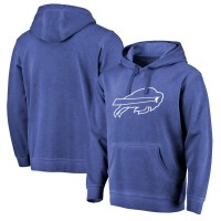 NFL Buffalo Bills Pro Line Royal White Logo Shadow Washed Pullover Men Hoodie