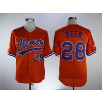 NCAA Clemson Tigers 28 Seth Beer Orange College Baseball Men Jersey
