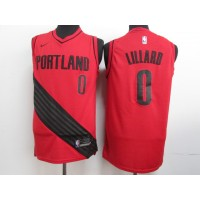 NBA Blazers 0 Damian Lillard Red City Edition Nike Swingman Men Jersey
