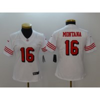 Nike 49ers 16 Joe Montana White Color Rush Vapor Untouchable Limited Women Jersey