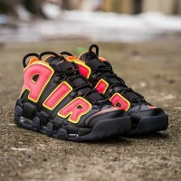 "Nike Air More Uptempo ""Hot Punch"" Black Shoes"