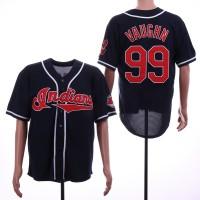 MLB Indians 99 Ricky Vaughn Navy Throwback Men Jersey