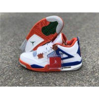 Air Jordan 4 Retro White/Blue/Orange Shoes