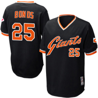 MLB Mitchell and Ness San Francisco Giants 25 Barry Bonds Black Throwback Men Jersey