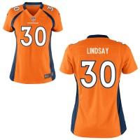 Nike Broncos 30 Phillip Lindsay Orange Women Jersey