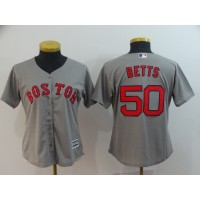 MLB Red Sox 50 Mookie Betts Gray Cool Base Women Jersey