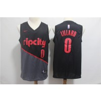 NBA Blazers 0 Damian Lillard Black 2018-19 City Edition Edition Swingman Nike Men Jersey