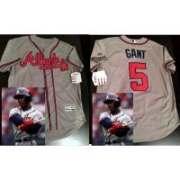 MLB Atlanta braves 5 Ron Gant Gray Cool Base Men Jersey