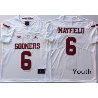 NCAA Oklahoma Sooners 6 Baker Mayfield White College Football Youth Jersey