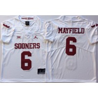 NCAA Oklahoma Sooners 6 Baker Mayfield White College Football Men Jersey