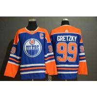 NHL Oilers 99 Wayne Gretzky Blue Adidas Men Jersey