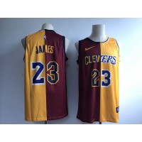 NBA Lakers 23 LeBron James Red Yellow Split Nike Men Jersey
