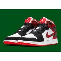 "Air Jordan 1 Mid ""White Plaid"" Colorway Shoes"
