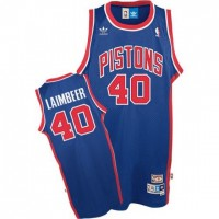 NBA Pistons 40 Bill Laimbeer Blue Throwback Adidas Men Jersey