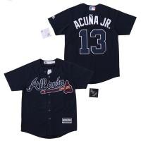 MLB Braves 13 Ronald Acuna Jr. Navy Cool Base Youth Jersey