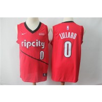 NBA Blazers 0 Damian Lillard Red Earned Edition Nike Men Jersey