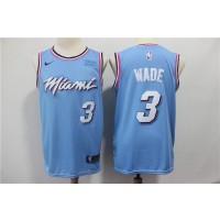 NBA Heat 3 Dwyane Wade Light Blue Nike Men Jersey
