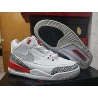 Air Jordan 3 White/Gray/Red Shoes