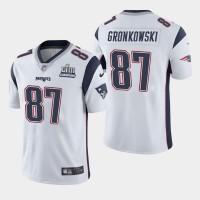 Nike Patriots 87 Rob Gronkowski White 2019 Super Bowl LIII Champions Vapor Untouchable Limited Men Jersey