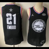 NBA 76ers 21 Joel Embiid Black 2019 All-Star Game Men Jersey