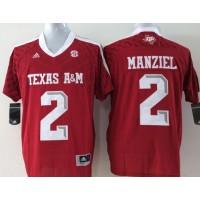 NCAA Texas A&M Aggies 2 Johnny Manziel Red College Football Adidas Men Jersey