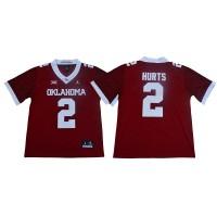 NCAA Oklahoma Sooners 2 Jalen Hurts Red 47 Game Winning Streak College Football Men Jersey