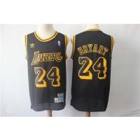 NBA Lakers 24 Kobe Bryant Black Hardwood Classics Men Jersey