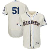 MLB Mariners 51 Ichiro Suzuki Cream 150th Patch Flexbase Men Jersey