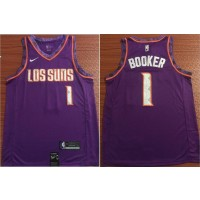 NBA Suns 1 Devin Booker Purple 2018-19 City Edition Nike Swingman Men Jersey