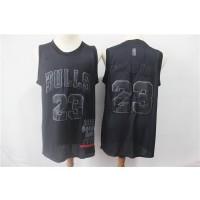 NBA Bulls 23 Michael Jordan Black MVP Honorary Edition Nike Men Jersey