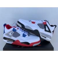 Air Jordan 4 White Red Black Blue Odd Shoes