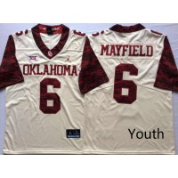 NCAA Oklahoma Sooners 6 Baker Mayfield White 47 Game Winning Streak College Football Youth Jersey