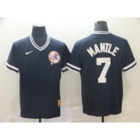 MLB Yankees 7 Mickey Mantle Navy Nike Cooperstown Collection Legend V-Neck Men Jersey