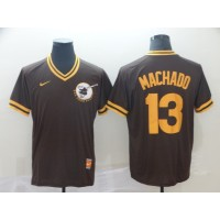 MLB Padres 13 Manny Machado Brown Nike Cooperstown Collection Legend V-Neck Men Jersey