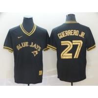 MLB Blue Jays 27 Vladimir Guerrero Jr. Black Gold Nike Cooperstown Legend V Neck Men Jersey