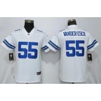 Nike Cowboys 55 Leighton Vander Esch White Vapor Untouchable Limited Women Jersey