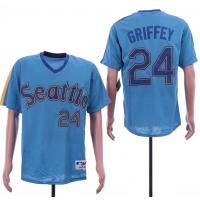 MLB Mariners 24 Ken Griffey Blue Throwback Men Jersey