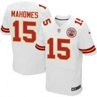 Nike Chiefs 15 Patrick Mahomes White Elite Men Jersey