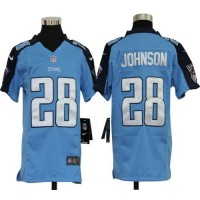 Youth Nike Tennessee Titans 28 Chris Johnson Light Blue NFL Elite Jersey