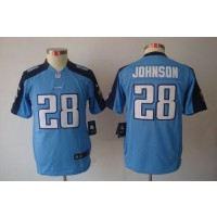 Youth Nike Tennessee Titans 28 Chris Johnson Light Blue NFL Limited Jersey