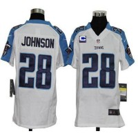 Youth Nike Tennessee Titans 28 Chris Johnson White C Patch NFL Elite Jersey