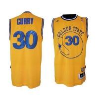 NBA Warriors 30 Stephen Curry Gold Throwback Men Jersey