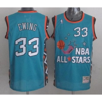 NBA Knicks 33 Patrick Ewing Light Blue 1996 All Star Mitchell And Ness Men Jersey