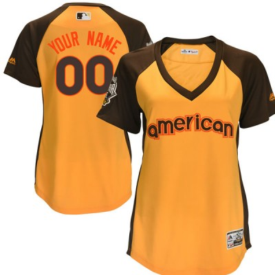MLB American League Gold 2016 All-Star Cool Base Custom Women American Jersey