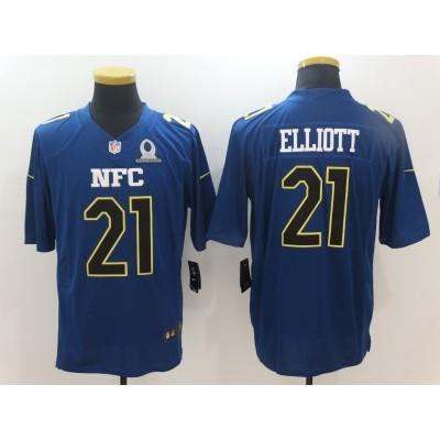 Nike NFL Cowboys 21 Ezekiel Elliott NFC Navy 2017 Pro Bowl Game Jersey