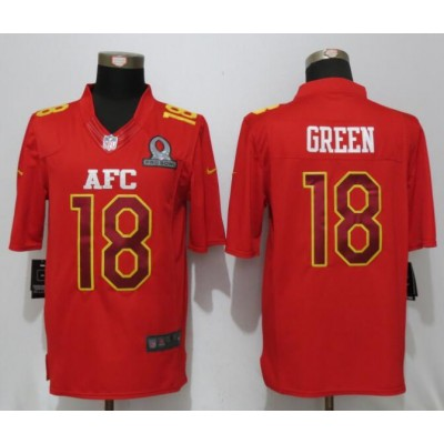 Nike NFL Bengals 18 A.J. Green AFC Red 2017 Pro Bowl Game Jersey